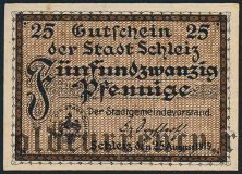 Шлайц (Schleiz), 25 пфеннингов 1919 года