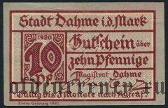 Даме (Dahme), 10 пфеннингов 1920 года