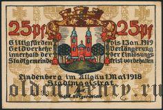 Линденберг-им-Альгой (Lindenberg i. Allgäu), 25 пфеннингов 1918 года
