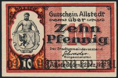 Альштедт (Allstedt), 10 пфеннингов 1920 года