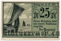 Куксхафен (Cuxhaven), 25 пфеннингов 1919 года. Вар. 1