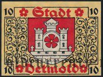 Детмольд (Detmold), 10 пфеннингов 1920 года. Вар. 2