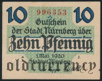 Нюрнберг (Nürnberg), 10 пфеннингов 1920 года. Вар. 1