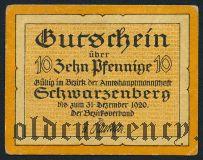 Шварценберг (Schwarzenberg), 10 пфеннингов 1920 года