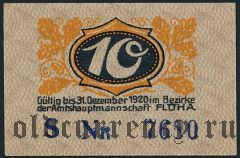 Флёа (Flöha), 10 пфеннингов 1920 года. Вар. 1