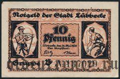 Люббекке (Lübbecke), 10 пфеннингов 1920 года