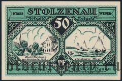 Штольценау (Stolzenau), 50 пфеннингов 1921 года. Вар. 3