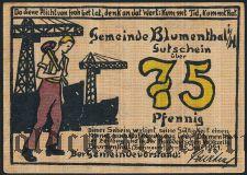 Блументаль (Blumenthal), 75 пфеннингов 1921 года