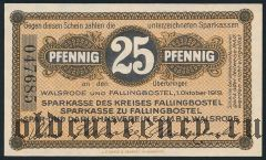 Вальсроде и Фаллингбостель (Walsrode und Fallingbostel), 25 пфеннингов 1919 года