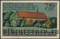 Бордесхольм (Bordesholm), 75 пфеннингов 1921 года. Вар. 2