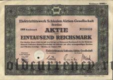 Elektrizitatswerk Schlesien Aktiengesellschaft, Breslau, 1000 reichsmark 1938.