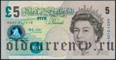 Великобритания, 5 фунтов 2002 года
