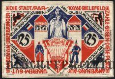 Билефельд (Bielefeld), 25 марок 15.07.1922. Вып. 1, Вар 2, На шелке