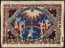 Билефельд (Bielefeld), 25 марок 15.07.1922. Вып. 2, Вар 3, На шелке