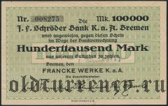 Бремен (Bremen), 100.000 марок 1923 года