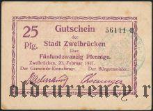 Цвайбрюккен (Zweibrücken), 25 пфеннингов 1917 года
