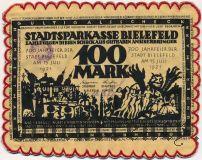Билефельд (Bielefeld), 100 марок 1921 года. На шелке