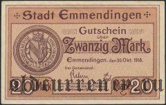 Эммендинген (Emmendingen), 20 марок 1918 года