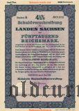 Schuldverschreibung des Landes Sachsen, Dresden, 5000 reichsmark 1938