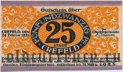 Крефельд (Crefeld), 25 пфеннингов 1921 года
