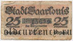 Саарлуис (Saarlouis), 25 пфеннингов 1920 года