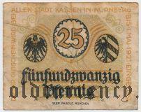 Нюрнберг (Nürnberg), 25 пфеннингов 1920 года