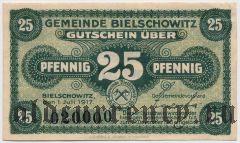 Билшовиц (Bielschowitz), 25 пфеннингов 1917 года