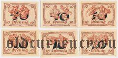 Арнштадт (Arnstadt), 10 пфеннингов, 6 нотгельдов 1921 года