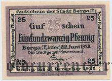 Берга (Berga), 25 пфеннингов 1920 года