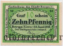 Берга (Berga), 10 пфеннингов 1920 года