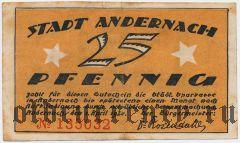 Андернах (Andernach), 25 пфеннингов 1920 года