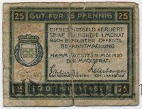 Хамм (Hamm), 25 пфеннингов 1920 года