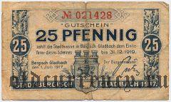 Бергиш-Гладбах (Bergisch-Gladbach), 25 пфеннингов 1917 года