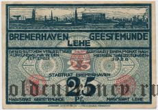 Бремерхафен, Гестемюнде и Леэ (Bremerhaven, Geestemünde und Lehe), 25 пфеннингов 1920 года. Вар. 2