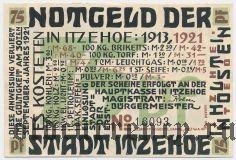 Итцехо (Itzehoe), 75 пфеннингов 1921 года