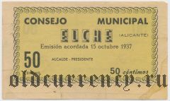 Испания, Эльче (Elche), 50 сантимов 1937 года