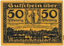 Мюнхенбернсдорф (Münchenbernsdorf), 50 пфеннингов 1921 года