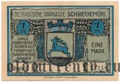 Шнайдемюль (Schneidemühl), 1 марка (1922) года. Вар. 2