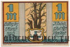 Клодниц (Klodnitz), 1 марка 1921 года. Вар. 2