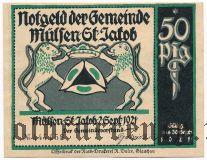 Мюльзен Санкт Якоб (Mülsen-St. Jacob), 50 пфеннингов 1921 года. Вар. 1