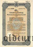 Westdeutschen Bodenkreditanstalt in Köln, 1000 reichsmark 1941