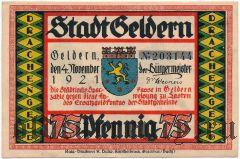Гельдерн (Geldern), 75 пфеннингов 1921 года. Вар. 1