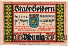Гельдерн (Geldern), 75 пфеннингов 1921 года. Вар. 4