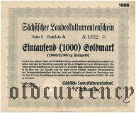 Sachsischer Landeskulturrentenschein, Dresden, 1000 goldmark 1924