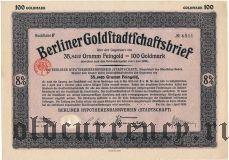 Berliner Goldstadtschaftsbrief, 100 goldmark 1926