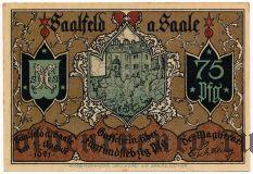Заальфельд (Saalfeld), 75 пфеннингов 1921 года