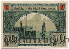 Куксхафен (Cuxhaven), 50 пфеннингов 1919 года. Вар. 1