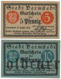 Дармштадт (Darmstadt), 2 нотгельда 1920 года
