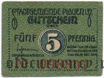 Плауэн (Plauen), 5 пфеннингов 1919 года. Вар. 1