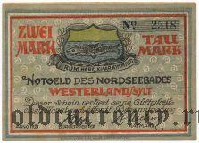 Вестерланд (Westerland), 2 марки 1921 года